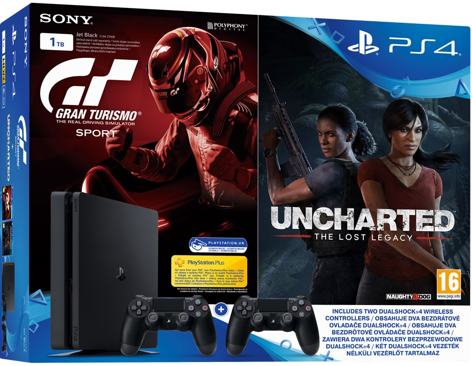 Sony Playstation 4 Slim 1TB Gran Turismo Sport + Uncharted Lost Legacy + 2db Kontroller bundle