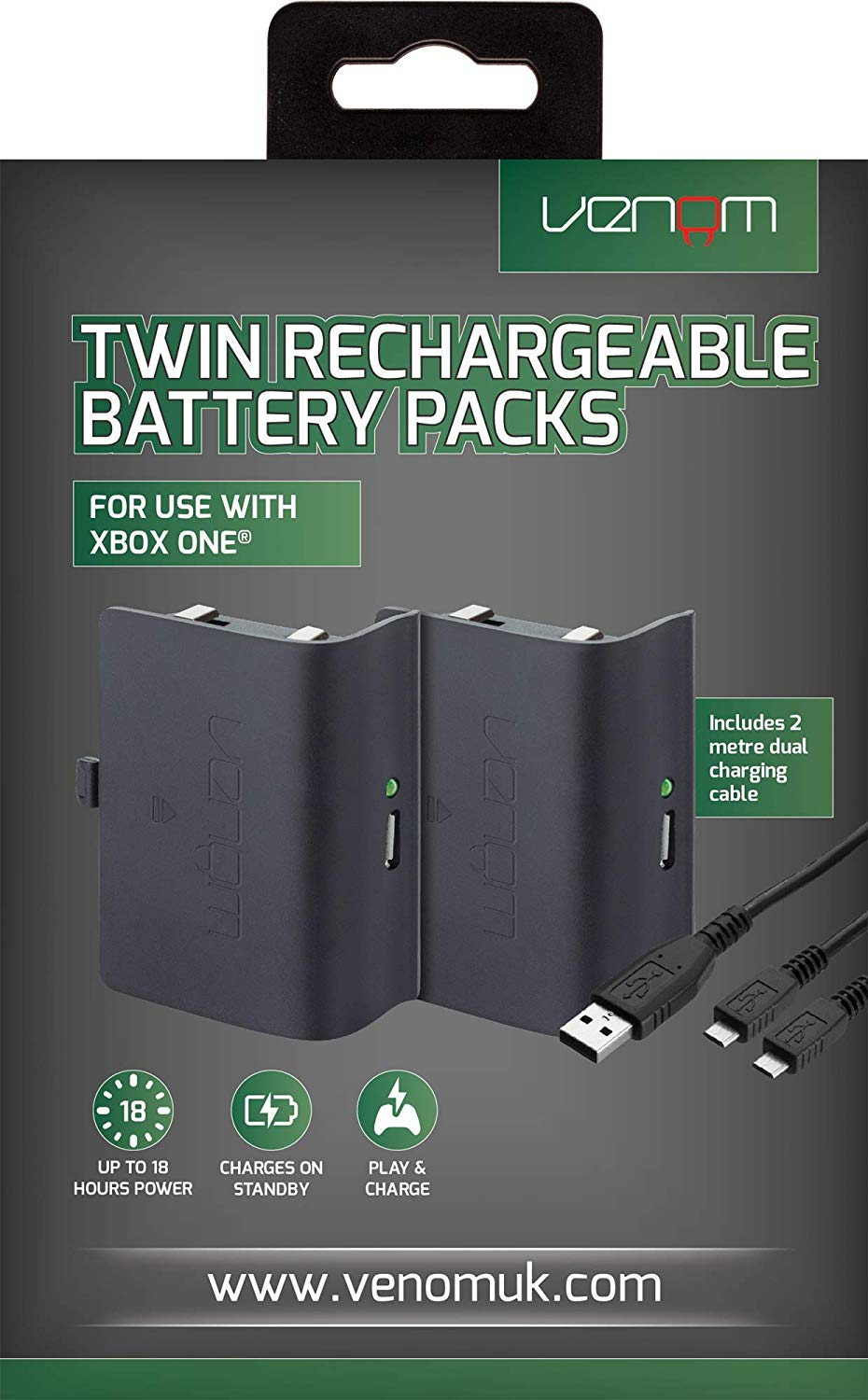 Venom Xbox One Twin Rechargeable Battery Packs (Fekete)