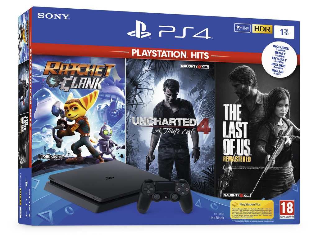 Sony PlayStation 4 Slim 1TB Uncharted 4,The Last of Us,Ratchet and Clank Playstation Hits Bundle