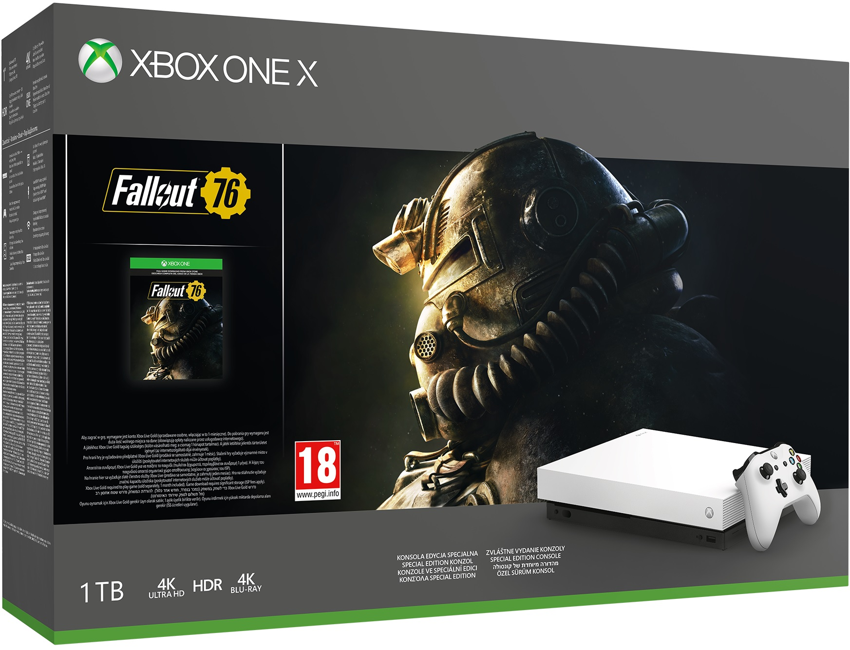 Microsoft Xbox One X Robot White Special Edition 1TB + Fallout 76