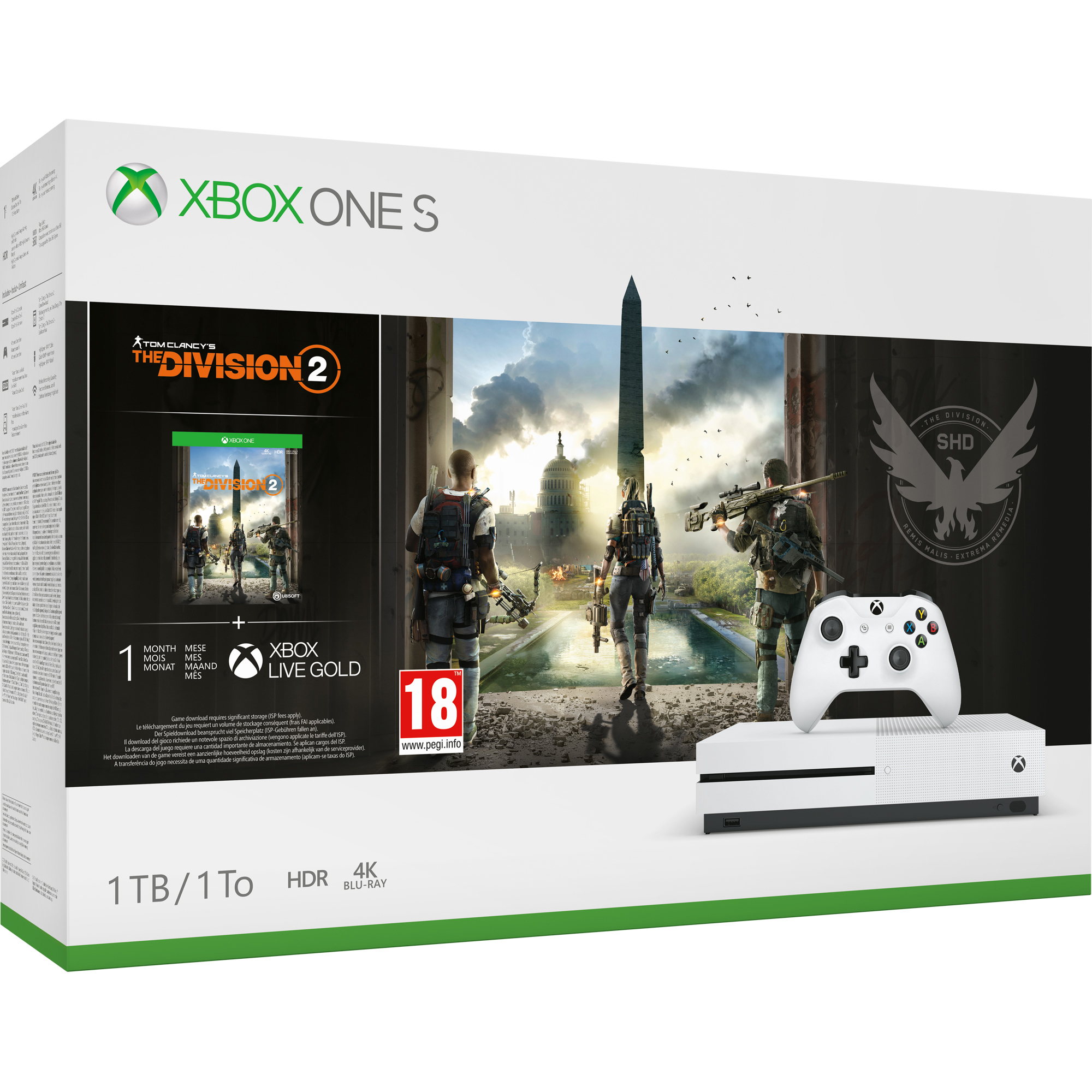 Microsoft Xbox One S 1TB Tom Clancys The Division 2 Bundle