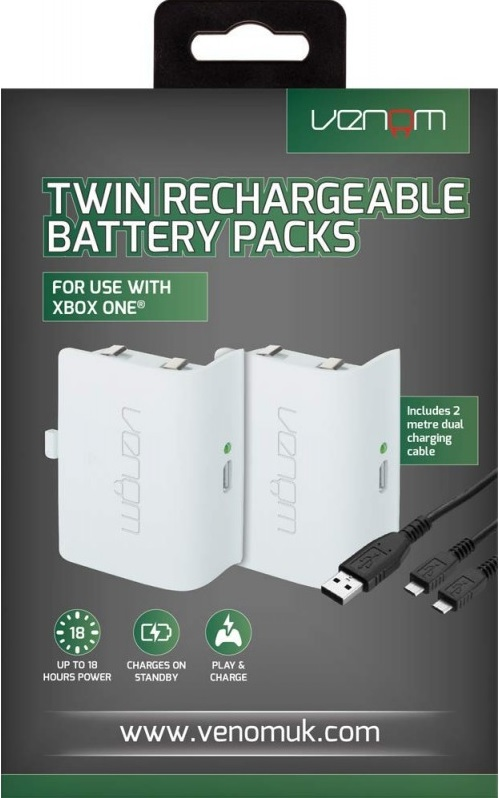 Venom Xbox One Twin Rechargeable Battery Packs (Fehér)