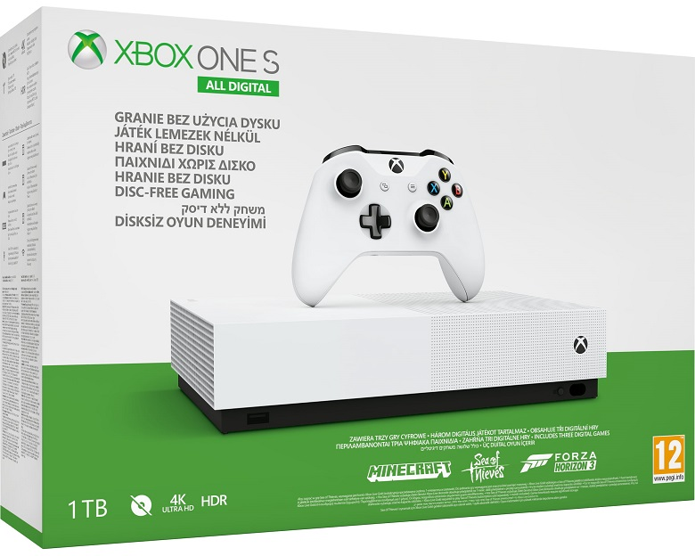 Microsoft Xbox One S 1TB All Digital Edition + Minecraft + Sea of Thieves + Forza Horizon 3