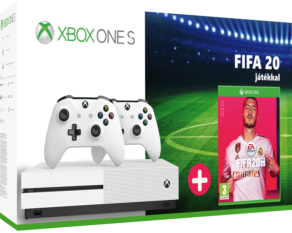 Microsoft Xbox One S 1TB + 2db Xbox One Wireless Controller White + Fifa 20