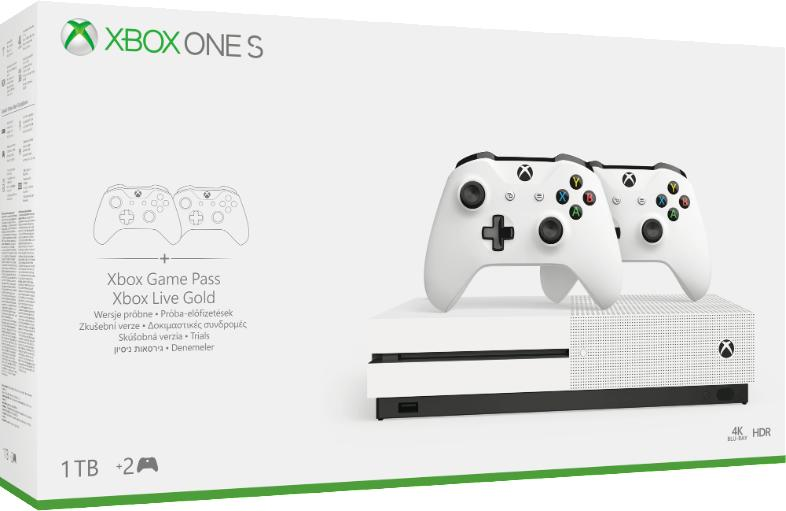 Microsoft Xbox One S 1TB + 2db Xbox One Wireless Controller White