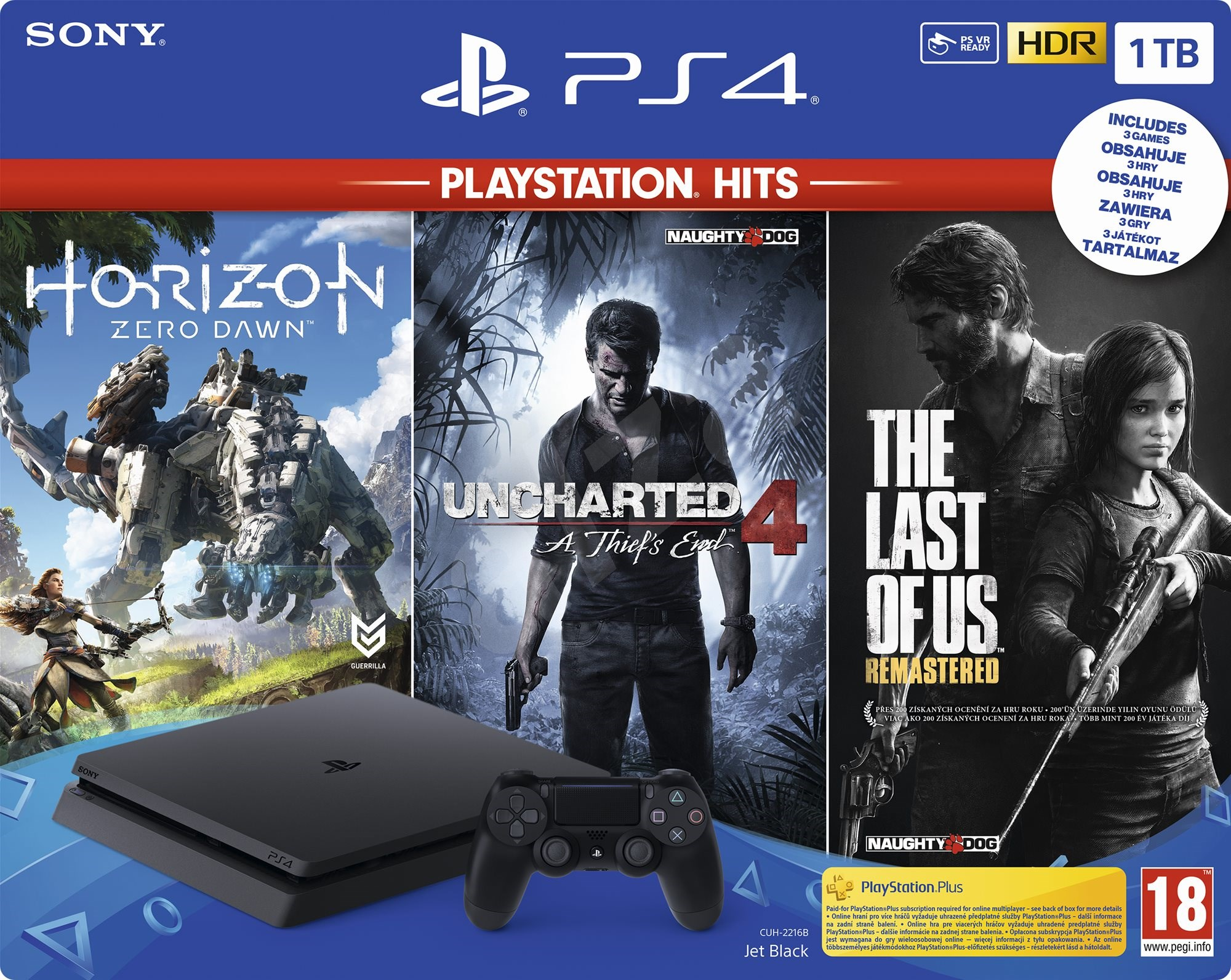 Sony PlayStation 4 Slim 1TB Playstation HITS Horizon Zero Dawn + The Last of Us + Uncharted 4 Bundle
