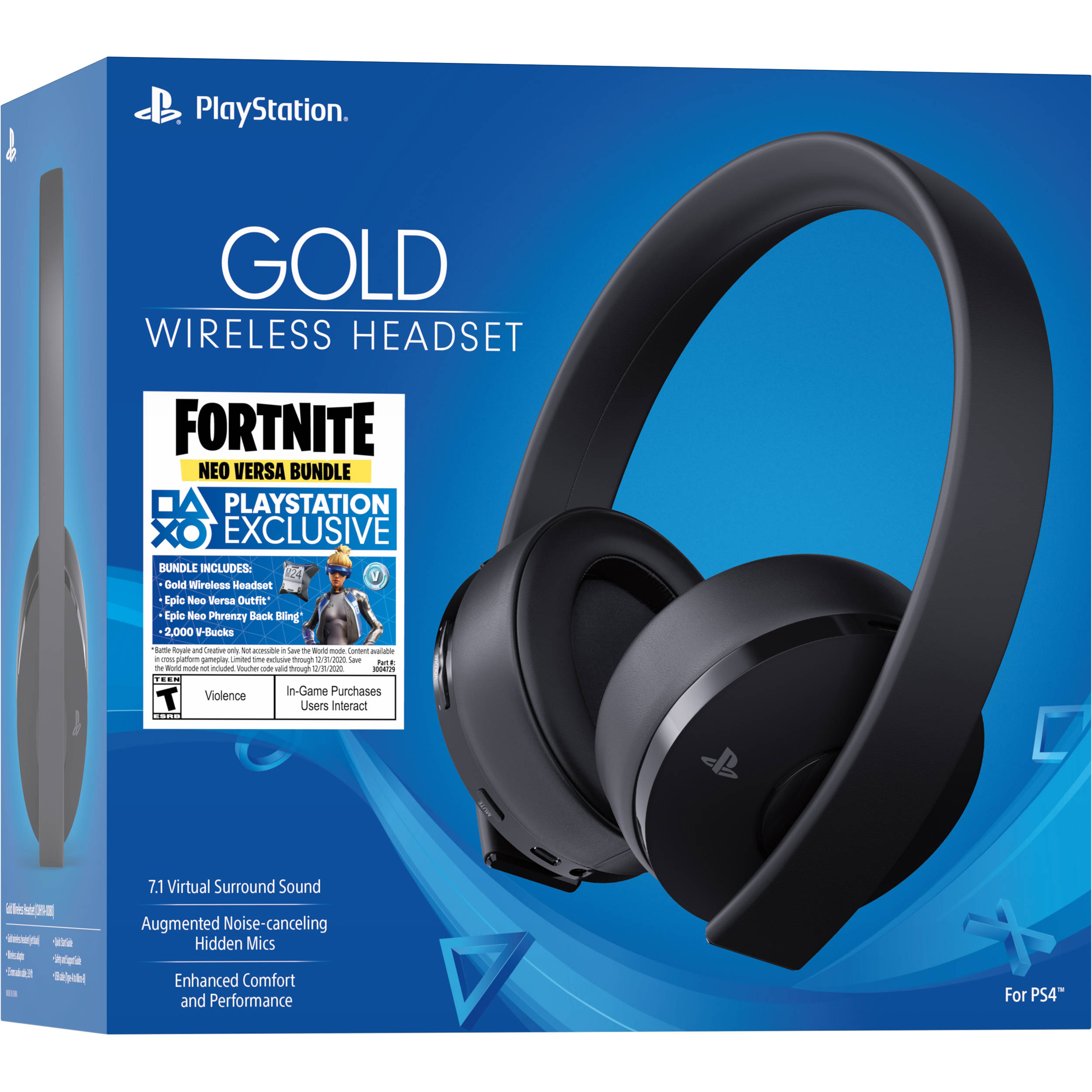 Sony Playstation Wireless Gold Headset 7.1 + Fortnite Neo Versa Bundle (Ps4)