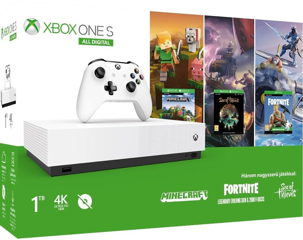 Microsoft Xbox One S 1TB All Digital Edition + Minecraft + Fortnite + Sea of Thieves