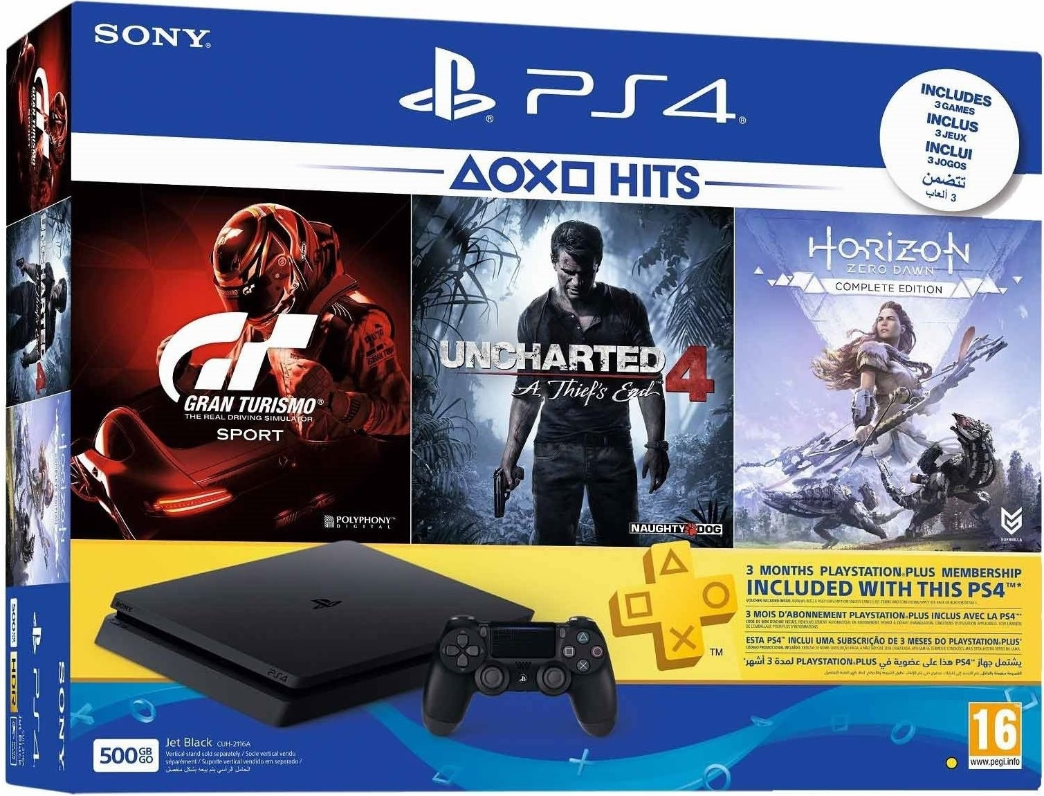 Sony PlayStation 4 Slim 1TB Playstation HITS Horizon Zero Dawn +Gran Turismo Sport + Uncharted 4 Bundle