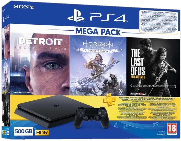 Sony PlayStation 4 Slim 500GB Mega Pack Horizon Zero Dawn + The Last of Us Remastered + Detroit Become Human