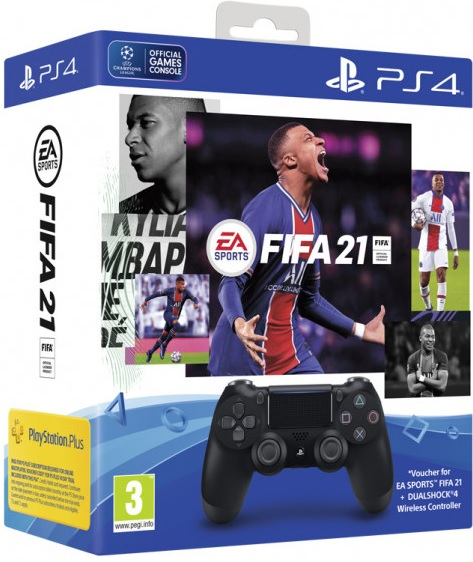 Sony Playstation 4 Dualshock 4 Controller Jet Black + FIFA 21