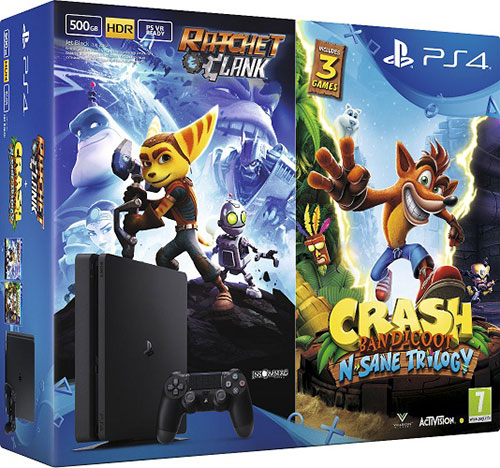 Sony Playstation 4 Slim 500GB Ratchet and Clank és Crash N Sane Trilogy Játékokkal